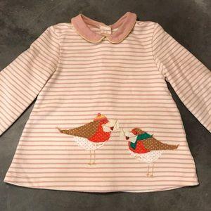 Baby Boden winter birds appliqué top